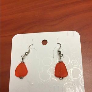 Orange Sea Glass Beach Glass Earrings, NEW